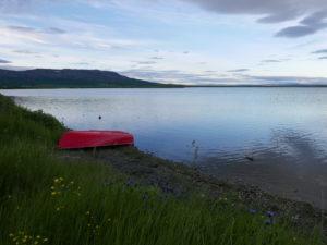 Het meer om 12 uur 's avonds.